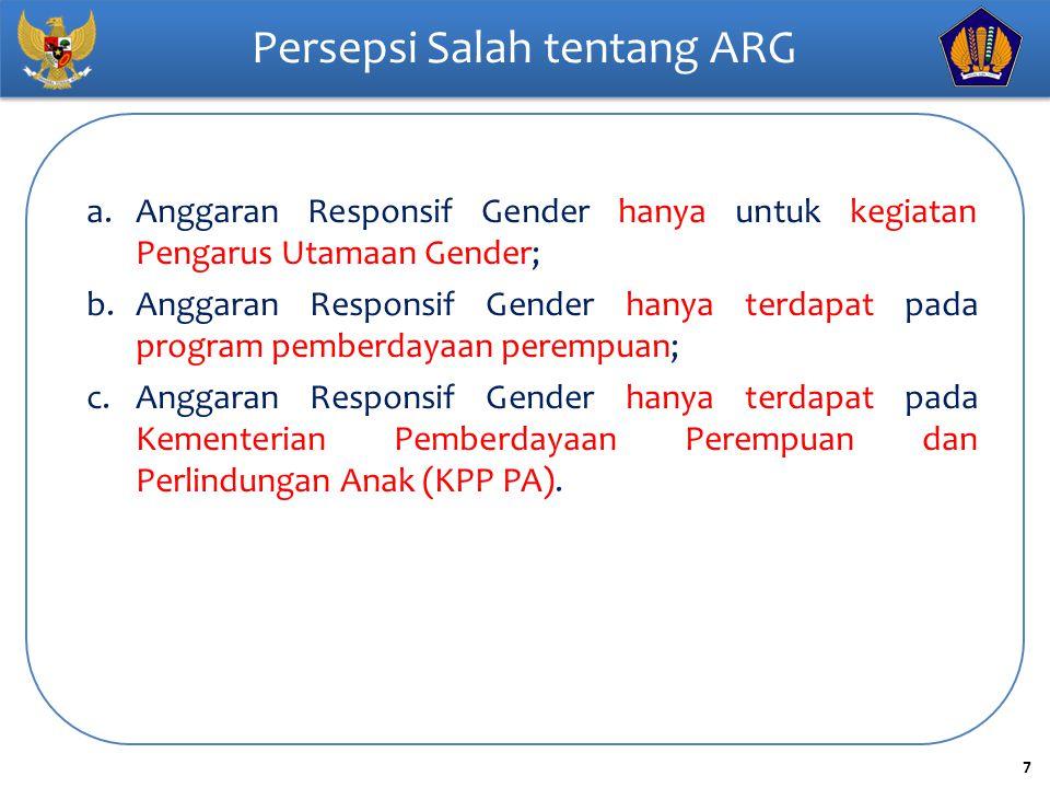 8 Prinsip Dasar ARG 1) ARG bukan anggaran yang terpisah untuk laki-laki dan perempuan; 2) ARG bukan berarti ada alokasi dana 50% laki-laki – 50% perempuan untuk setiap kegiatan; 3) Bukan berarti bahwa alokasi ARG berada dalam program khusus pemberdayaan perempuan; 4) Tidak berlaku sebagai dasar untuk meminta tambahan alokasi anggaran; 5) Tidak semua program/kegiatan/output perlu mendapat koreksi agar menjadi responsif gender  ada juga yang netral gender.