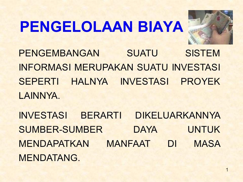 12 2.BIAYA DALAM TAHAP DISAIN SISTEM A. BIAYA DOKUMENTASI B.