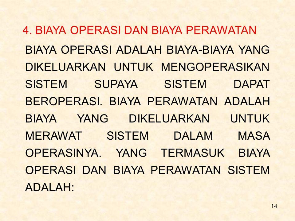 14 4. BIAYA OPERASI DAN BIAYA PERAWATAN BIAYA OPERASI ADALAH BIAYA-BIAYA YANG DIKELUARKAN UNTUK MENGOPERASIKAN SISTEM SUPAYA SISTEM DAPAT BEROPERASI.