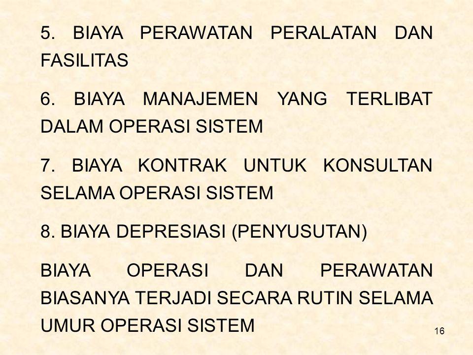 16 5. BIAYA PERAWATAN PERALATAN DAN FASILITAS 6. BIAYA MANAJEMEN YANG TERLIBAT DALAM OPERASI SISTEM 7. BIAYA KONTRAK UNTUK KONSULTAN SELAMA OPERASI SI