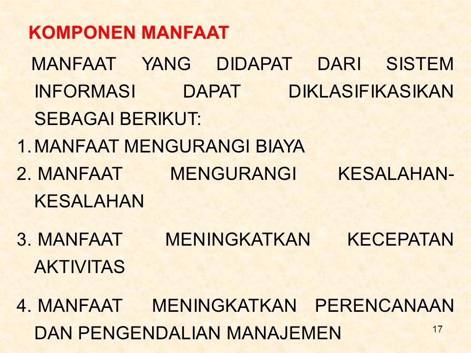 17 KOMPONEN MANFAAT MANFAAT YANG DIDAPAT DARI SISTEM INFORMASI DAPAT DIKLASIFIKASIKAN SEBAGAI BERIKUT: 1.MANFAAT MENGURANGI BIAYA 2. MANFAAT MENGURANG