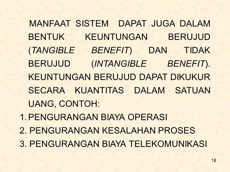 18 MANFAAT SISTEM DAPAT JUGA DALAM BENTUK KEUNTUNGAN BERUJUD (TANGIBLE BENEFIT) DAN TIDAK BERUJUD (INTANGIBLE BENEFIT). KEUNTUNGAN BERUJUD DAPAT DIKUK