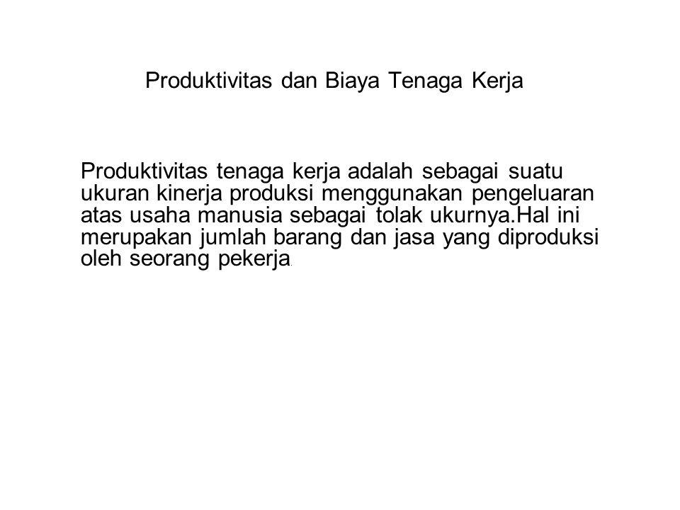 Produktivitas dan Biaya Tenaga Kerja Produktivitas tenaga kerja adalah sebagai suatu ukuran kinerja produksi menggunakan pengeluaran atas usaha manusi