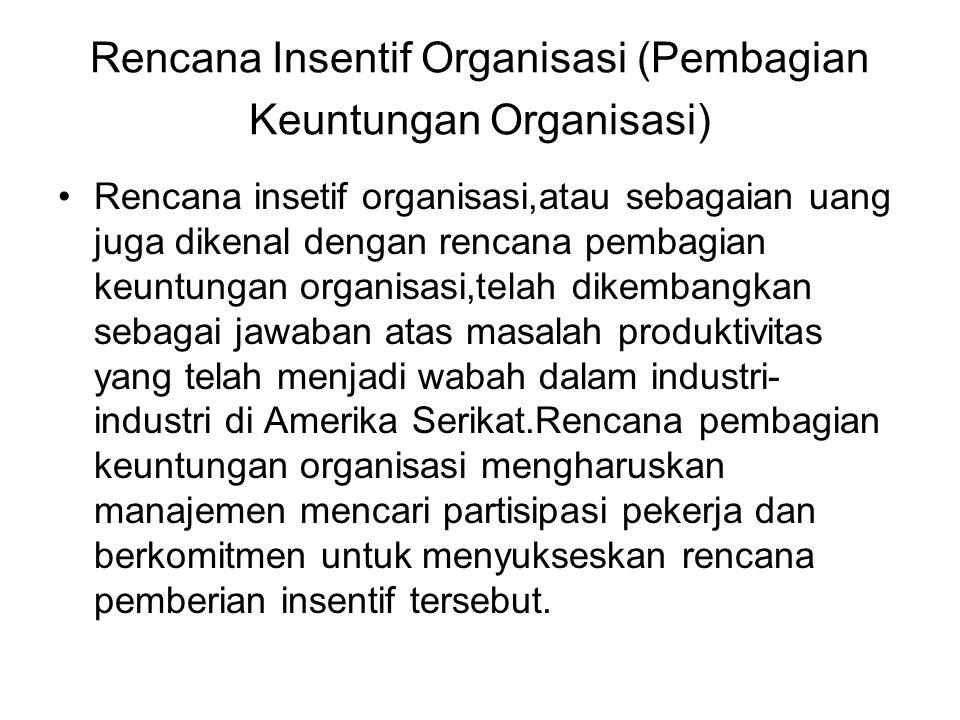 Rencana Insentif Organisasi (Pembagian Keuntungan Organisasi) Rencana insetif organisasi,atau sebagaian uang juga dikenal dengan rencana pembagian keu