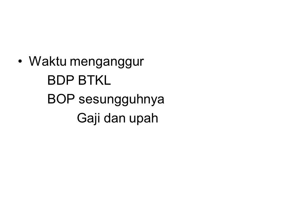 Waktu menganggur BDP BTKL BOP sesungguhnya Gaji dan upah