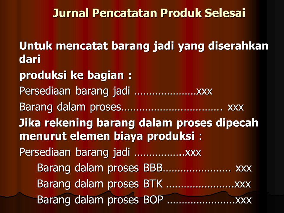 Jurnal Pencatatan Produk Selesai Untuk mencatat barang jadi yang diserahkan dari produksi ke bagian : Persediaan barang jadi …………………xxx Barang dalam p