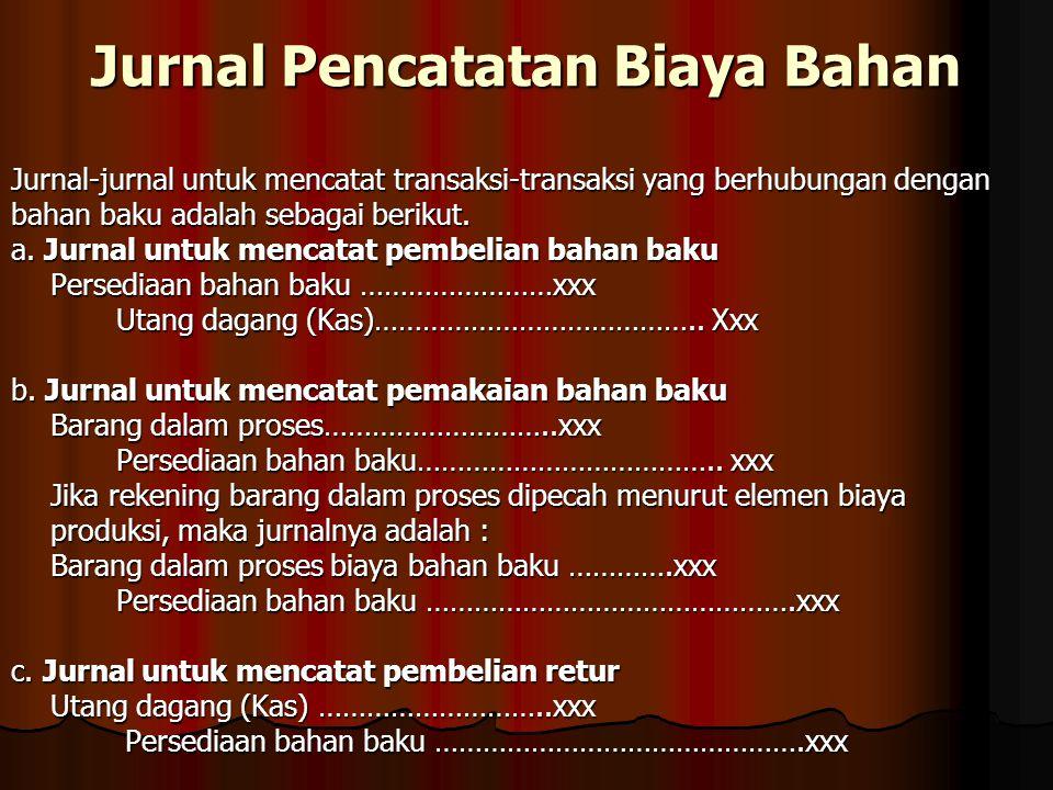 Jurnal Pencatatan Biaya Bahan Jurnal-jurnal untuk mencatat transaksi-transaksi yang berhubungan dengan bahan baku adalah sebagai berikut. a. Jurnal un