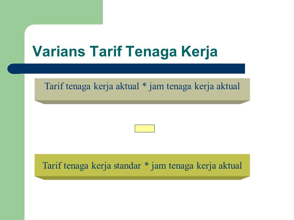 Varians Tarif Tenaga Kerja Tarif tenaga kerja aktual * jam tenaga kerja aktual Tarif tenaga kerja standar * jam tenaga kerja aktual