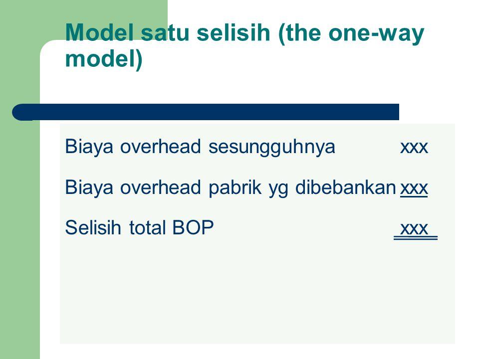 Model satu selisih (the one-way model) Biaya overhead sesungguhnyaxxx Biaya overhead pabrik yg dibebankanxxx Selisih total BOPxxx
