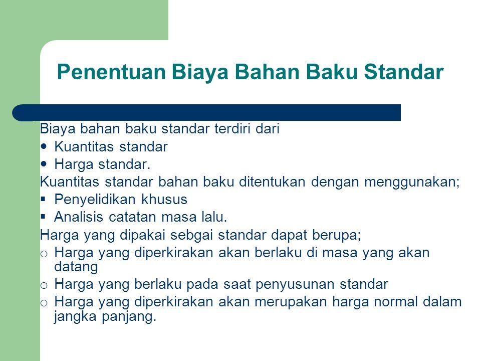 Penentuan Biaya Bahan Baku Standar Biaya bahan baku standar terdiri dari Kuantitas standar Harga standar. Kuantitas standar bahan baku ditentukan deng
