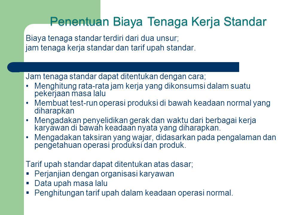 Biaya tenaga standar terdiri dari dua unsur; jam tenaga kerja standar dan tarif upah standar. Jam tenaga standar dapat ditentukan dengan cara; Menghit