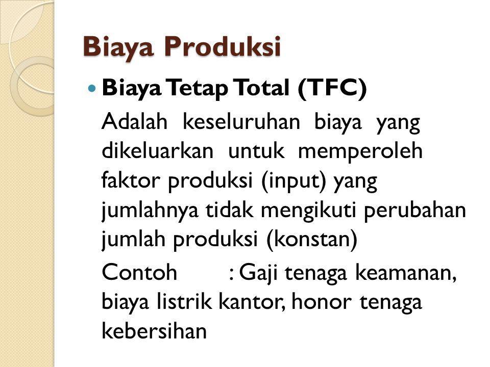 Biaya Produksi Biaya Tetap Total (TFC) Adalah keseluruhan biaya yang dikeluarkan untuk memperoleh faktor produksi (input) yang jumlahnya tidak mengiku
