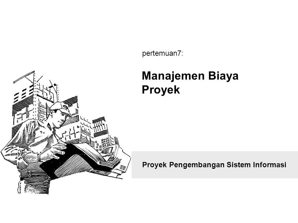 Outline definisi Proses manajemen biaya project selection methods –net present value analysis –weighted scoring model –balanced scorecard scope planning process & scope statement scope definition process & wbs scope verification and scope change control