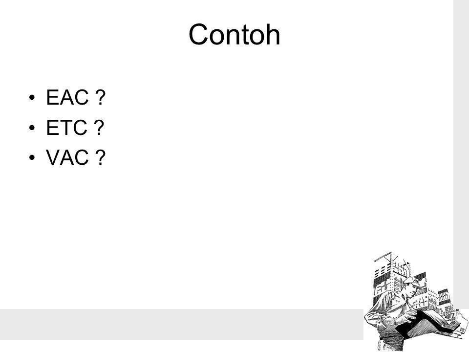Contoh EAC ? ETC ? VAC ?
