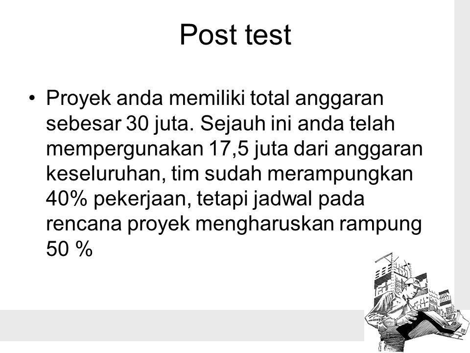 Post test Proyek anda memiliki total anggaran sebesar 30 juta. Sejauh ini anda telah mempergunakan 17,5 juta dari anggaran keseluruhan, tim sudah mera