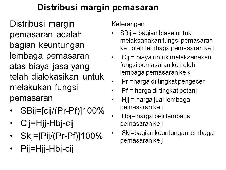 Distribusi margin pemasaran Distribusi margin pemasaran adalah bagian keuntungan lembaga pemasaran atas biaya jasa yang telah dialokasikan untuk melakukan fungsi pemasaran SBij=[cij/(Pr-Pf)]100% Cij=Hjj-Hbj-cij Skj=[Pij/(Pr-Pf)]100% Pij=Hjj-Hbj-cij Keterangan : SBij = bagian biaya untuk melaksanakan fungsi pemasaran ke i oleh lembaga pemasaran ke j Cij = biaya untuk melaksanakan fungsi pemasaran ke i oleh lembaga pemasaran ke k Pr =harga di tingkat pengecer Pf = harga di tingkat petani Hjj = harga jual lembaga pemasaran ke j Hbj= harga beli lembaga pemasaran ke j Skj=bagian keuntungan lembaga pemasaran ke j