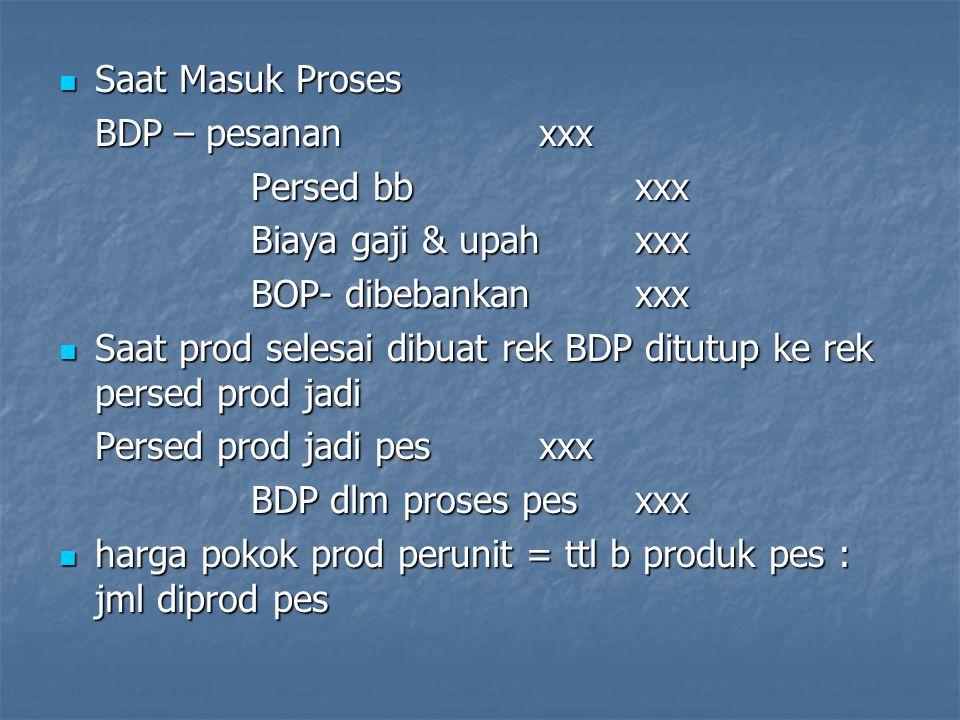 Saat Masuk Proses Saat Masuk Proses BDP – pesananxxx Persed bbxxx Biaya gaji & upahxxx BOP- dibebankanxxx Saat prod selesai dibuat rek BDP ditutup ke