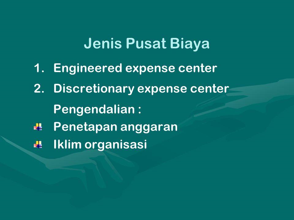 Jenis Pusat Biaya 1. 1.Engineered expense center 2. 2.Discretionary expense center Pengendalian : Penetapan anggaran Iklim organisasi