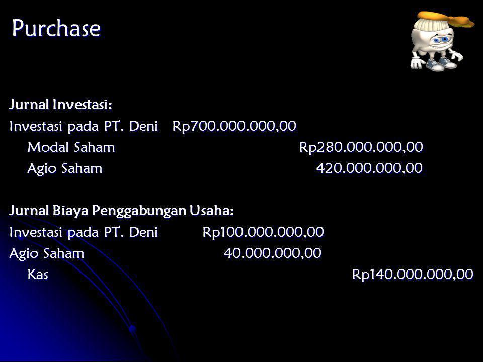 Purchase Jurnal Investasi: Investasi pada PT. Deni Rp700.000.000,00 Modal SahamRp280.000.000,00 Agio Saham 420.000.000,00 Jurnal Biaya Penggabungan Us