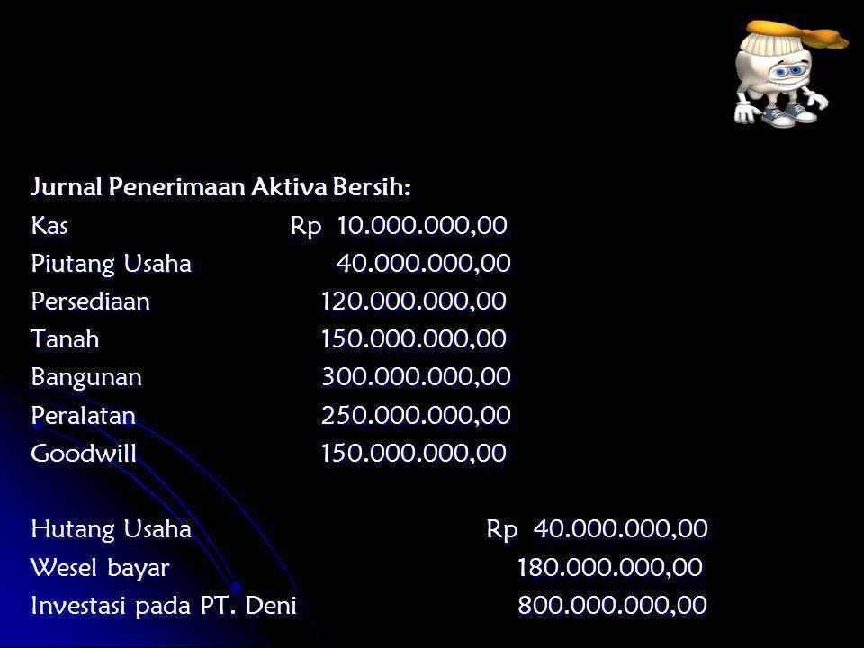 Jurnal Penerimaan Aktiva Bersih: KasRp 10.000.000,00 Piutang Usaha 40.000.000,00 Persediaan 120.000.000,00 Tanah 150.000.000,00 Bangunan 300.000.000,0