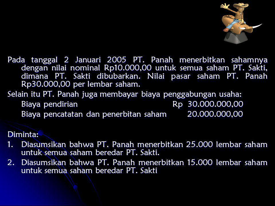 Pada tanggal 2 Januari 2005 PT. Panah menerbitkan sahamnya dengan nilai nominal Rp10.000,00 untuk semua saham PT. Sakti, dimana PT. Sakti dibubarkan.