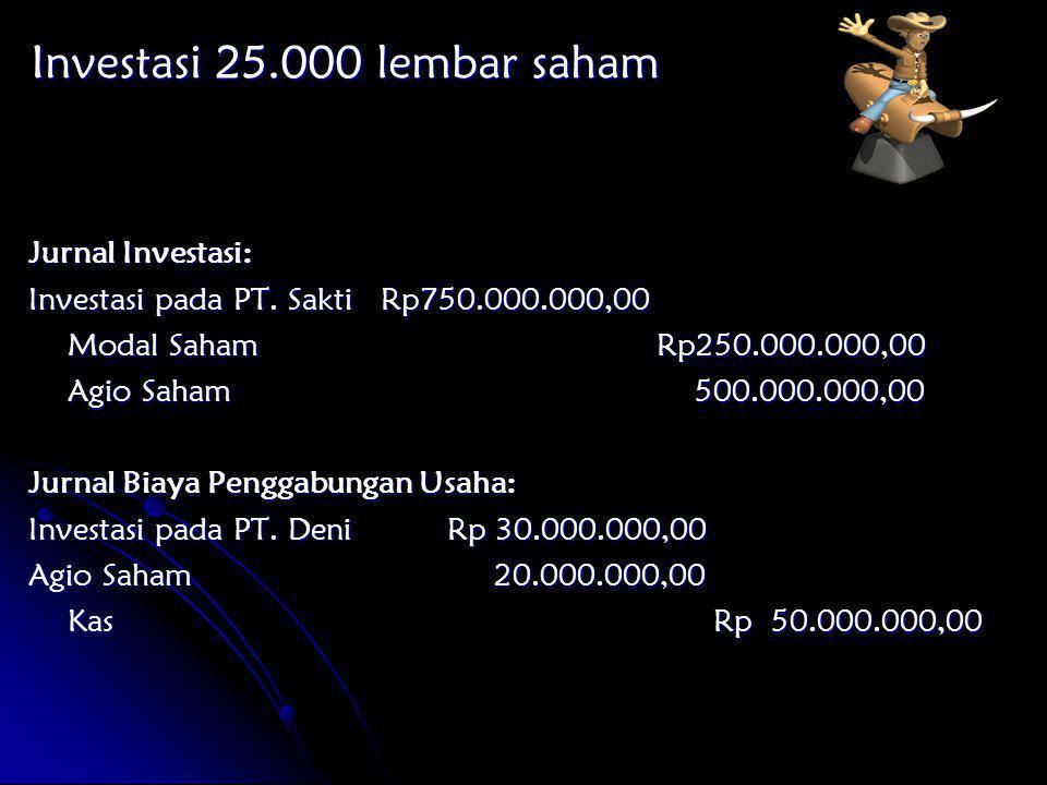 Jurnal Investasi: Investasi pada PT. Sakti Rp750.000.000,00 Modal SahamRp250.000.000,00 Agio Saham 500.000.000,00 Jurnal Biaya Penggabungan Usaha: Inv