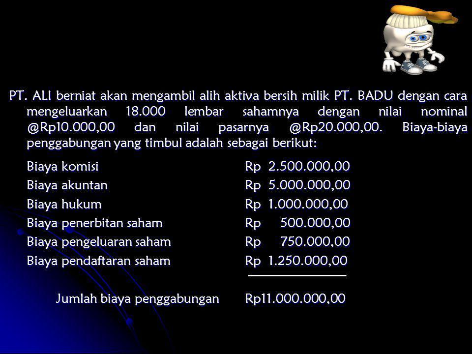 PT. ALI berniat akan mengambil alih aktiva bersih milik PT. BADU dengan cara mengeluarkan 18.000 lembar sahamnya dengan nilai nominal @Rp10.000,00 dan