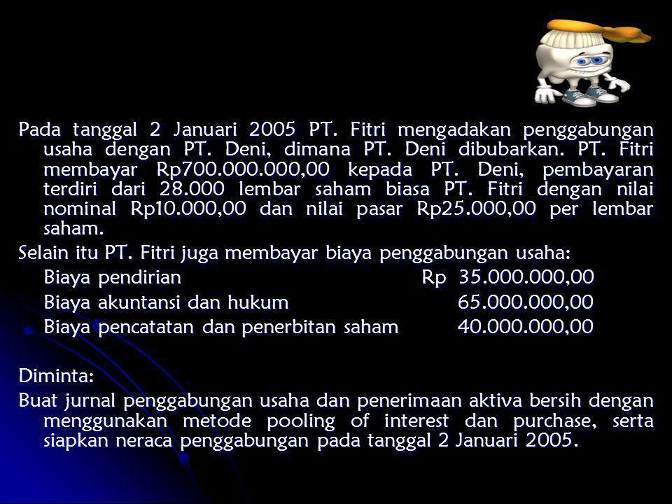 Pada tanggal 2 Januari 2005 PT. Fitri mengadakan penggabungan usaha dengan PT. Deni, dimana PT. Deni dibubarkan. PT. Fitri membayar Rp700.000.000,00 k