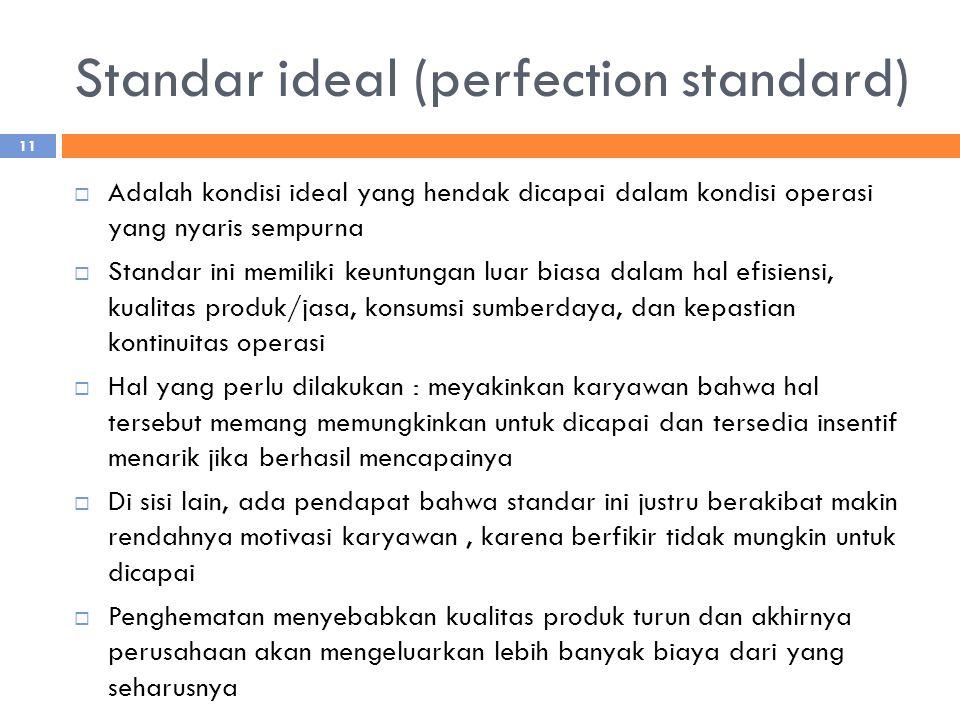 Standar ideal (perfection standard)  Adalah kondisi ideal yang hendak dicapai dalam kondisi operasi yang nyaris sempurna  Standar ini memiliki keuntungan luar biasa dalam hal efisiensi, kualitas produk/jasa, konsumsi sumberdaya, dan kepastian kontinuitas operasi  Hal yang perlu dilakukan : meyakinkan karyawan bahwa hal tersebut memang memungkinkan untuk dicapai dan tersedia insentif menarik jika berhasil mencapainya  Di sisi lain, ada pendapat bahwa standar ini justru berakibat makin rendahnya motivasi karyawan, karena berfikir tidak mungkin untuk dicapai  Penghematan menyebabkan kualitas produk turun dan akhirnya perusahaan akan mengeluarkan lebih banyak biaya dari yang seharusnya 11