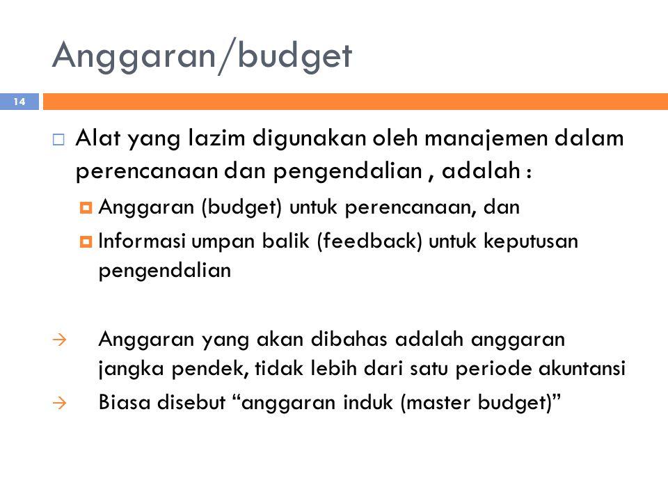 Anggaran/budget  Alat yang lazim digunakan oleh manajemen dalam perencanaan dan pengendalian, adalah :  Anggaran (budget) untuk perencanaan, dan  I
