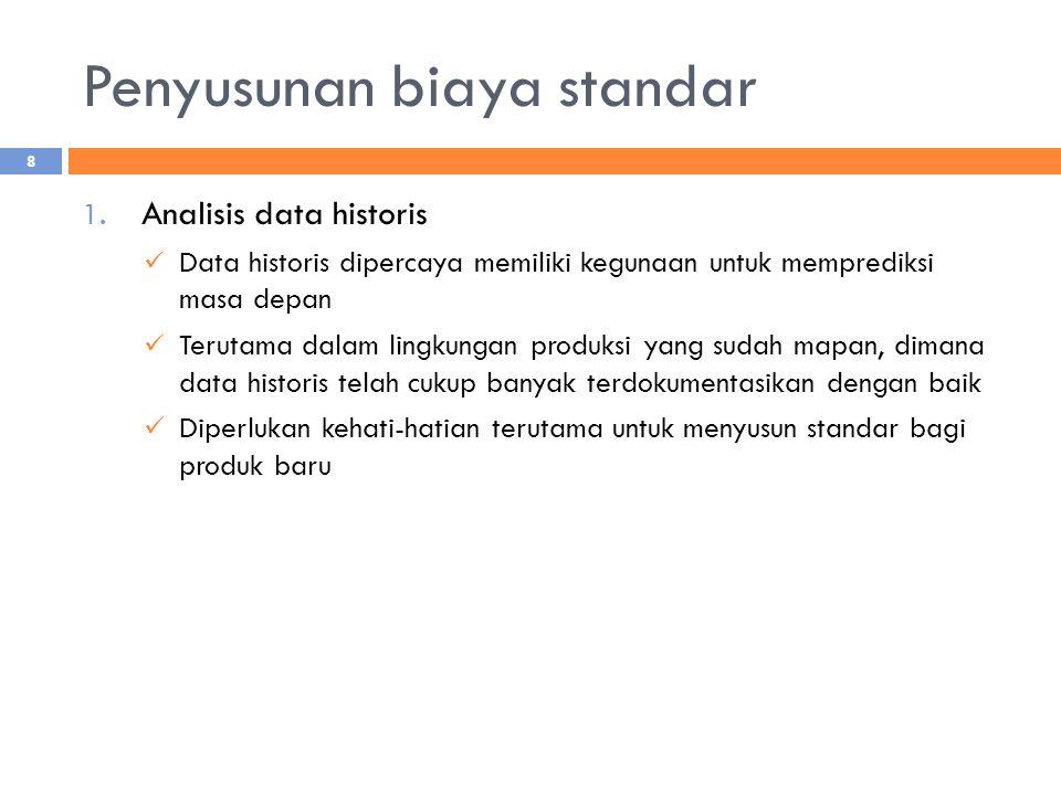 Penyusunan biaya standar 1. Analisis data historis Data historis dipercaya memiliki kegunaan untuk memprediksi masa depan Terutama dalam lingkungan pr