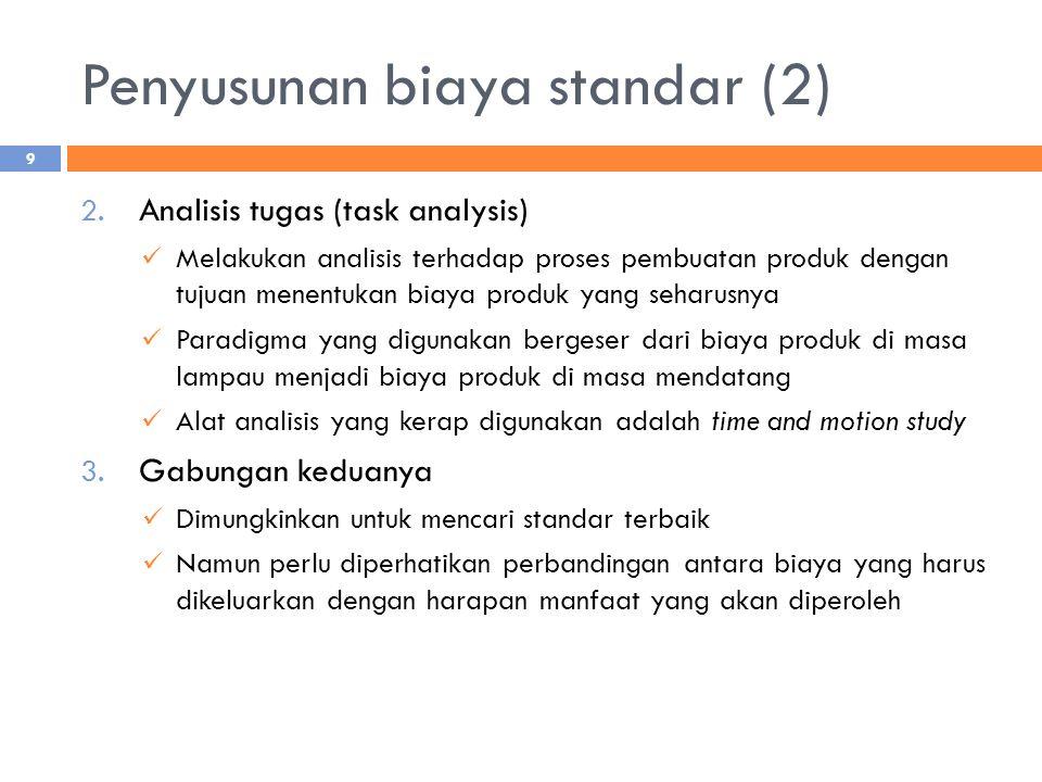 Penyusunan biaya standar (2) 2. Analisis tugas (task analysis) Melakukan analisis terhadap proses pembuatan produk dengan tujuan menentukan biaya prod