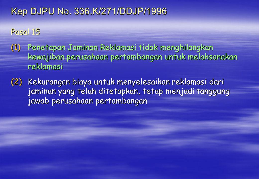 Kep DJPU No. 336.K/271/DDJP/1996 Pasal 15 (1)Penetapan Jaminan Reklamasi tidak menghilangkan kewajiban perusahaan pertambangan untuk melaksanakan rekl