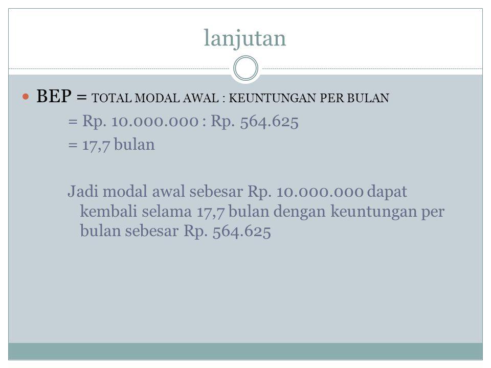 lanjutan BEP = TOTAL MODAL AWAL : KEUNTUNGAN PER BULAN = Rp. 10.000.000 : Rp. 564.625 = 17,7 bulan Jadi modal awal sebesar Rp. 10.000.000 dapat kembal
