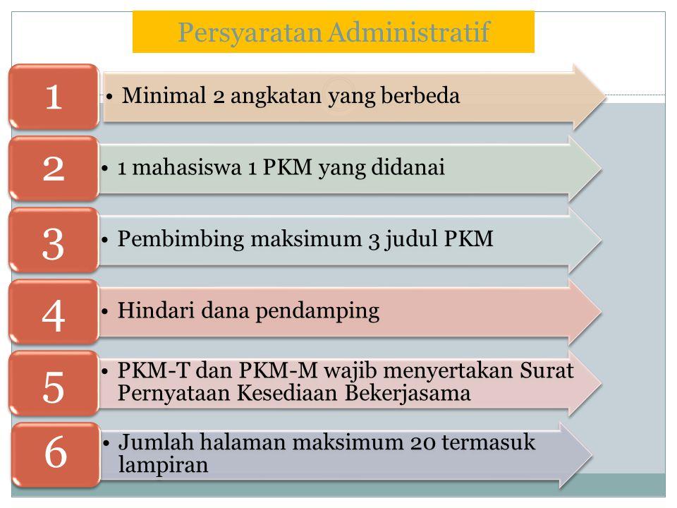 Persyaratan Administratif Minimal 2 angkatan yang berbeda 1 1 mahasiswa 1 PKM yang didanai 2 Pembimbing maksimum 3 judul PKM 3 Hindari dana pendamping