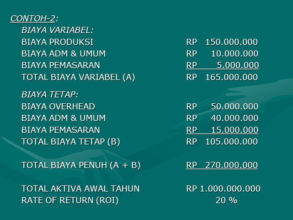 CONTOH-2: BIAYA VARIABEL: BIAYA PRODUKSIRP 150.000.000 BIAYA ADM & UMUMRP 10.000.000 BIAYA PEMASARANRP 5.000.000 TOTAL BIAYA VARIABEL (A)RP 165.000.00