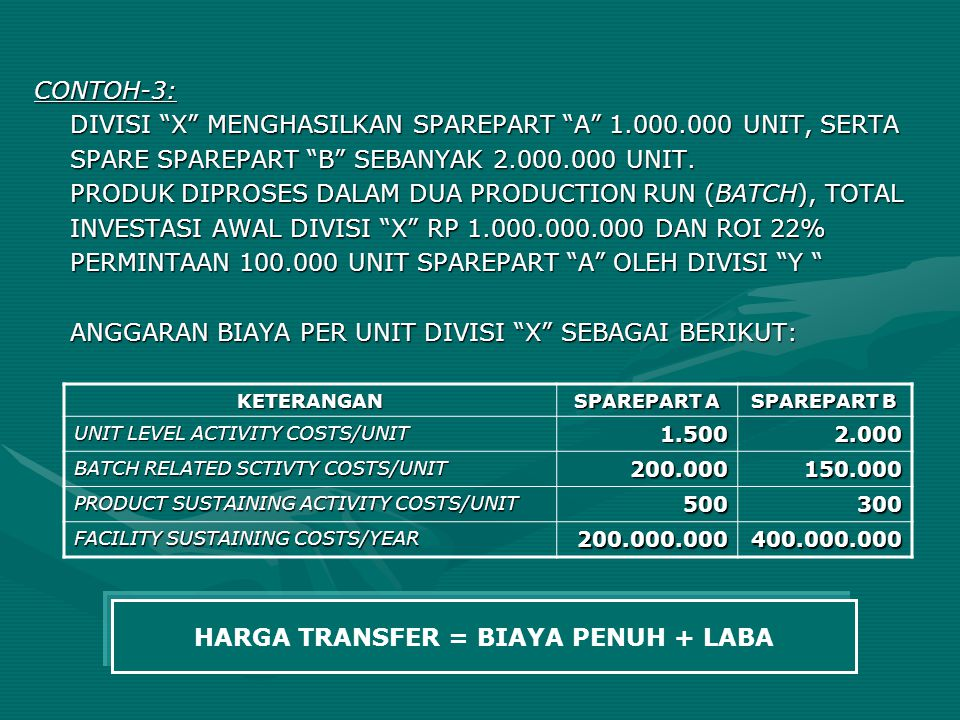 "CONTOH-3: DIVISI ""X"" MENGHASILKAN SPAREPART ""A"" 1.000.000 UNIT, SERTA SPARE SPAREPART ""B"" SEBANYAK 2.000.000 UNIT. PRODUK DIPROSES DALAM DUA PRODUCTIO"