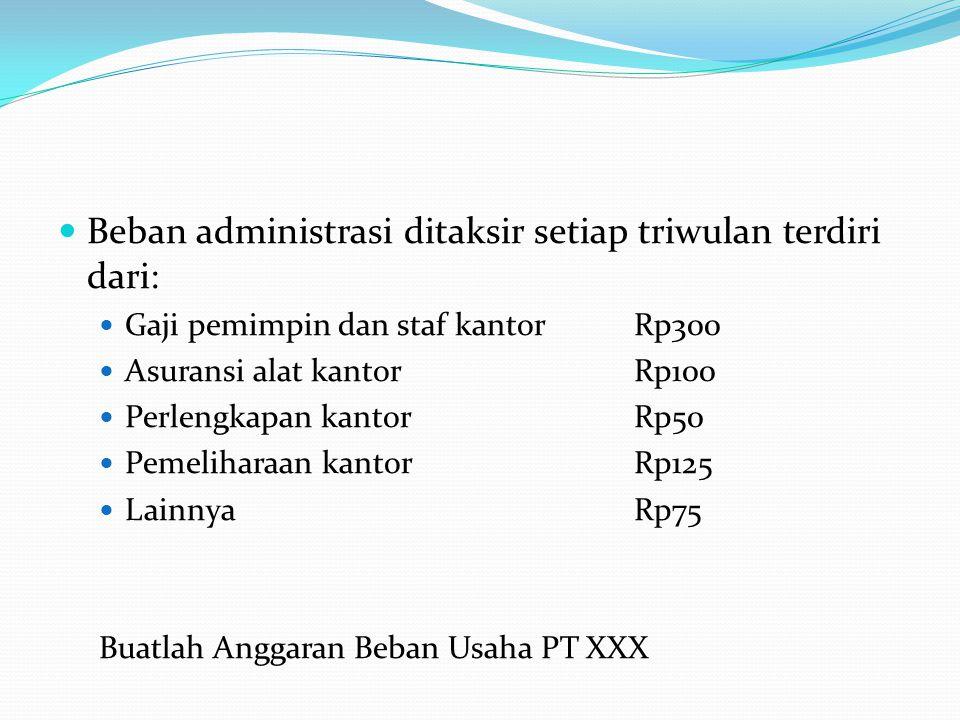 Beban administrasi ditaksir setiap triwulan terdiri dari: Gaji pemimpin dan staf kantorRp300 Asuransi alat kantorRp100 Perlengkapan kantorRp50 Pemelih