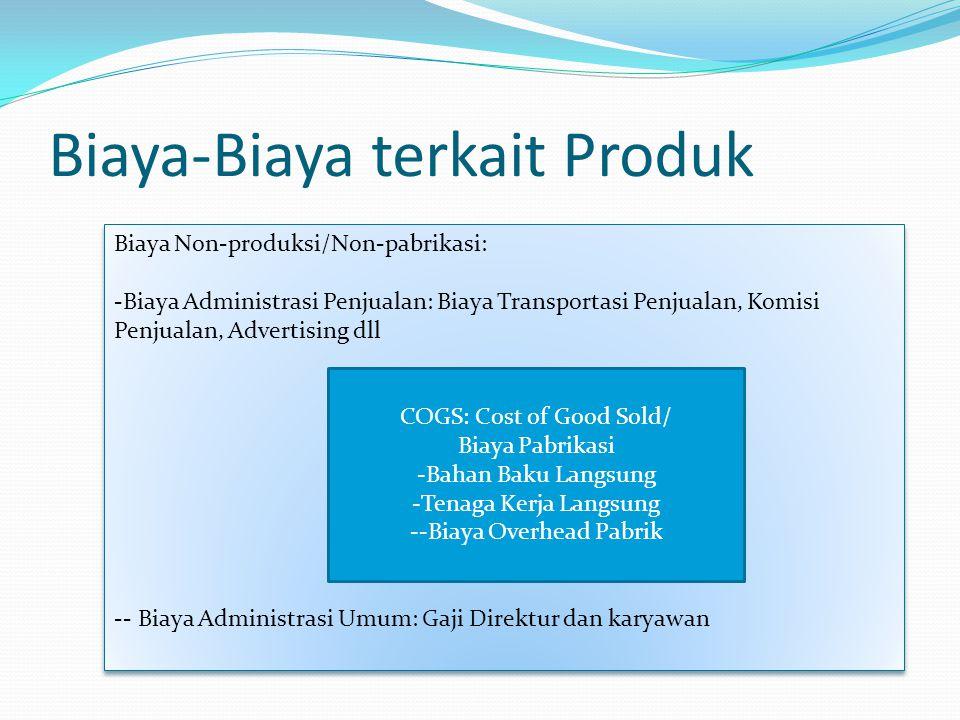 Biaya Non-produksi/Non-pabrikasi: -Biaya Administrasi Penjualan: Biaya Transportasi Penjualan, Komisi Penjualan, Advertising dll -- Biaya Administrasi