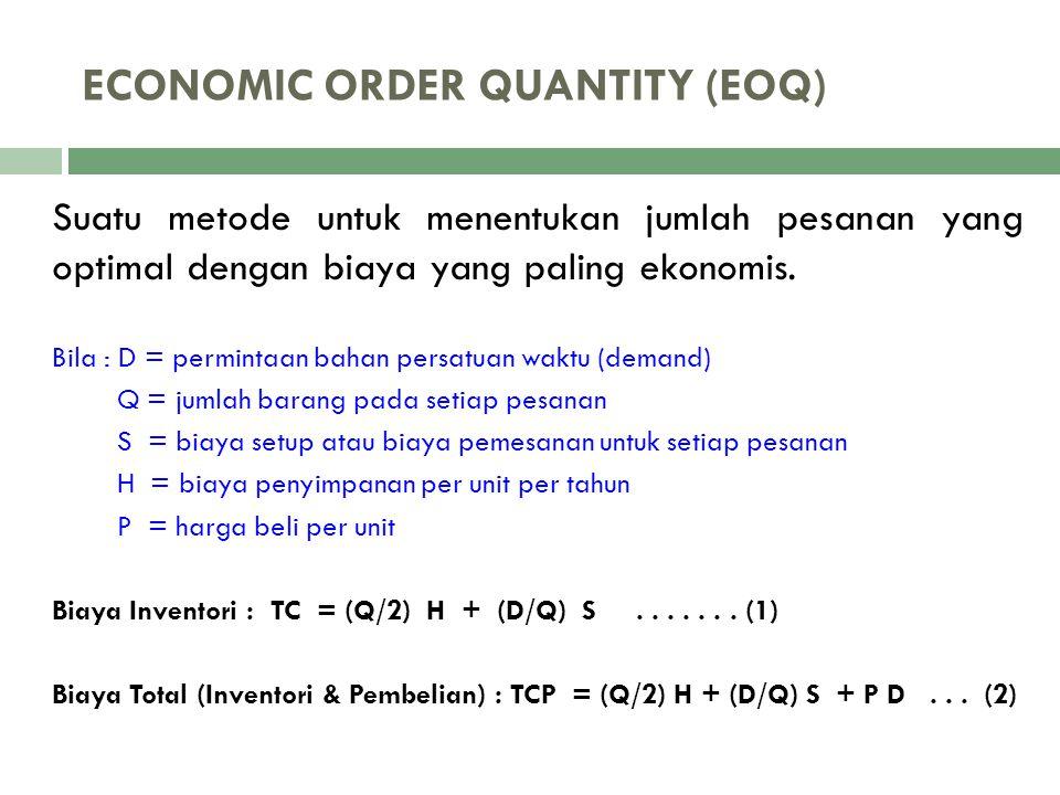 ECONOMIC ORDER QUANTITY (EOQ) Suatu metode untuk menentukan jumlah pesanan yang optimal dengan biaya yang paling ekonomis. Bila : D = permintaan bahan