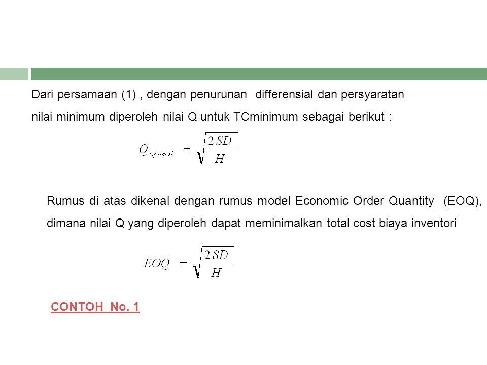 Dari persamaan (1), dengan penurunan differensial dan persyaratan nilai minimum diperoleh nilai Q untuk TCminimum sebagai berikut : Rumus di atas dike