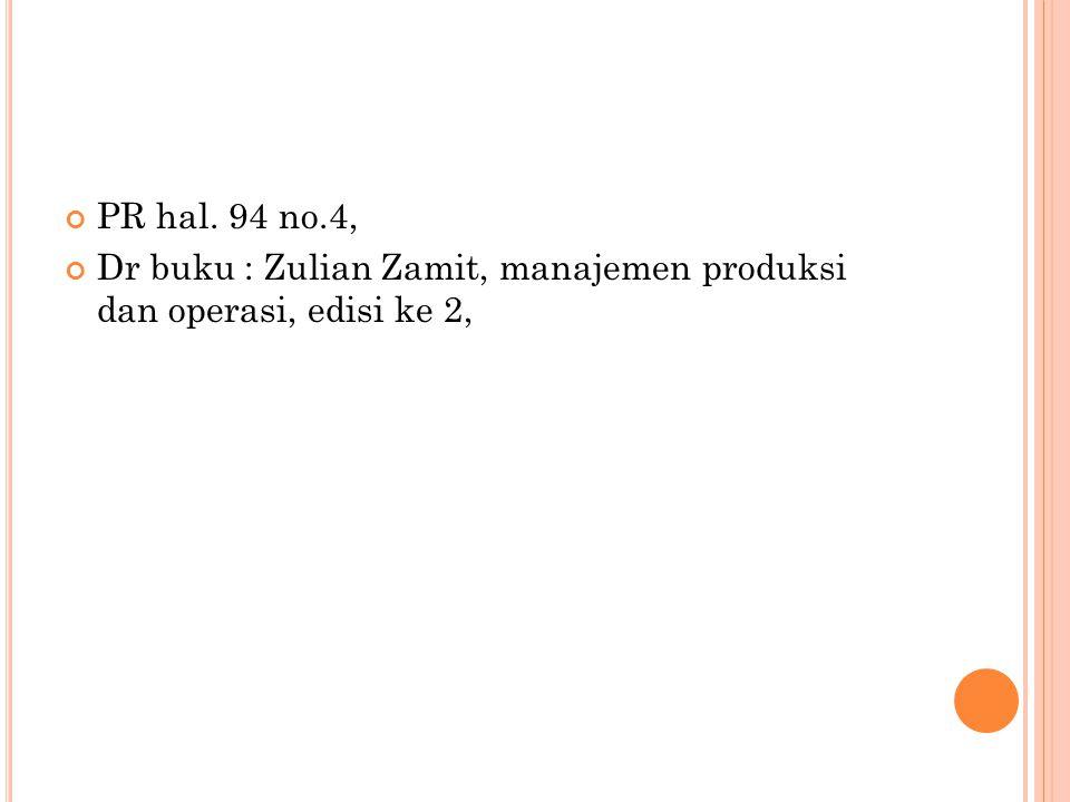 PR hal. 94 no.4, Dr buku : Zulian Zamit, manajemen produksi dan operasi, edisi ke 2,