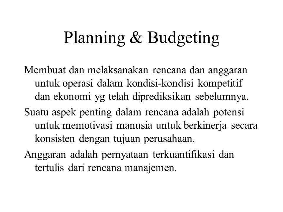 Planning & Budgeting Membuat dan melaksanakan rencana dan anggaran untuk operasi dalam kondisi-kondisi kompetitif dan ekonomi yg telah diprediksikan sebelumnya.