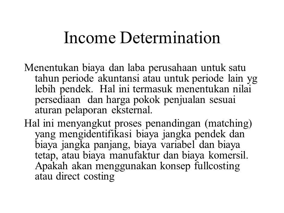 Income Determination Menentukan biaya dan laba perusahaan untuk satu tahun periode akuntansi atau untuk periode lain yg lebih pendek.