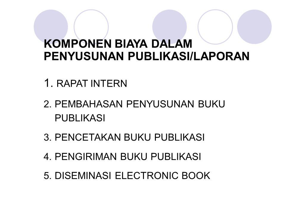 KOMPONEN BIAYA DALAM PENYUSUNAN PUBLIKASI/LAPORAN 1.