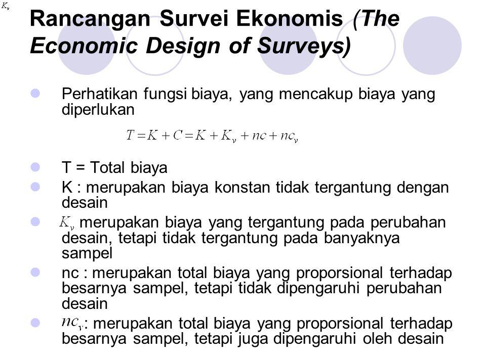 Rancangan Survei Ekonomis (The Economic Design of Surveys) Perhatikan fungsi biaya, yang mencakup biaya yang diperlukan T = Total biaya K : merupakan biaya konstan tidak tergantung dengan desain merupakan biaya yang tergantung pada perubahan desain, tetapi tidak tergantung pada banyaknya sampel nc : merupakan total biaya yang proporsional terhadap besarnya sampel, tetapi tidak dipengaruhi perubahan desain : merupakan total biaya yang proporsional terhadap besarnya sampel, tetapi juga dipengaruhi oleh desain