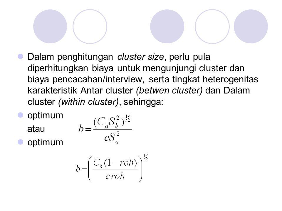 Dalam penghitungan cluster size, perlu pula diperhitungkan biaya untuk mengunjungi cluster dan biaya pencacahan/interview, serta tingkat heterogenitas karakteristik Antar cluster (betwen cluster) dan Dalam cluster (within cluster), sehingga: optimum atau optimum