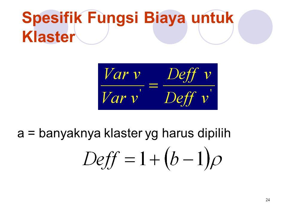 24 Spesifik Fungsi Biaya untuk Klaster a = banyaknya klaster yg harus dipilih