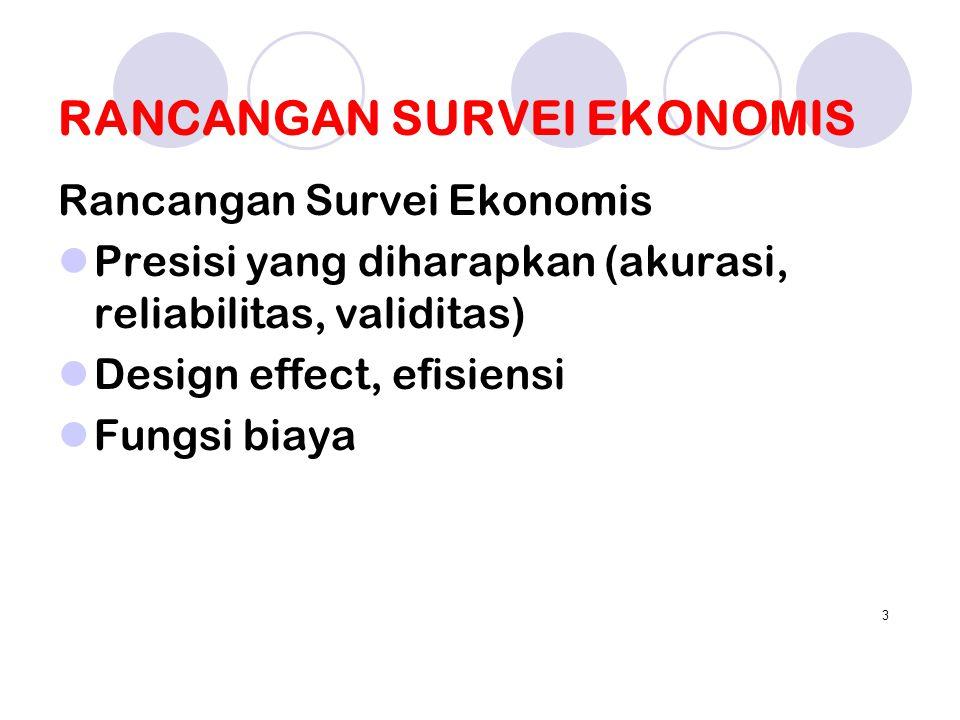 RANCANGAN SURVEI EKONOMIS Rancangan Survei Ekonomis Presisi yang diharapkan (akurasi, reliabilitas, validitas) Design effect, efisiensi Fungsi biaya 3
