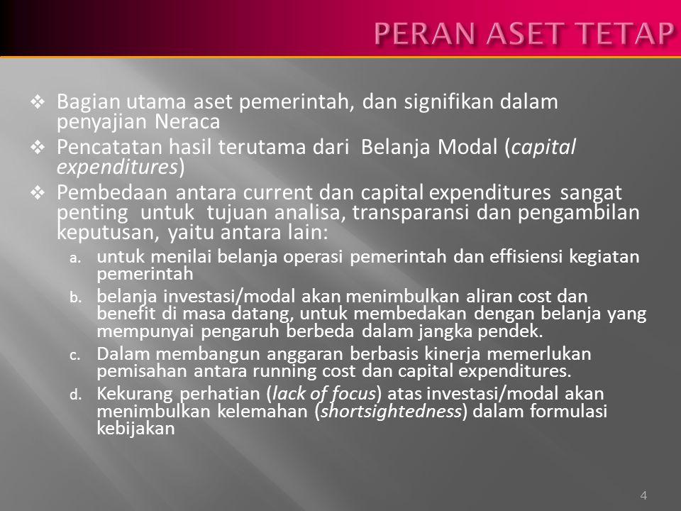  Bagian utama aset pemerintah, dan signifikan dalam penyajian Neraca  Pencatatan hasil terutama dari Belanja Modal (capital expenditures)  Pembedaan antara current dan capital expenditures sangat penting untuk tujuan analisa, transparansi dan pengambilan keputusan, yaitu antara lain: a.